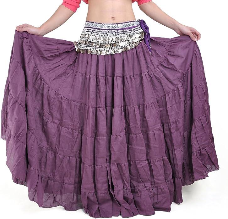 Women Tribal Belly Dance Boho Gypsy Flowy Maxi Long Skirt