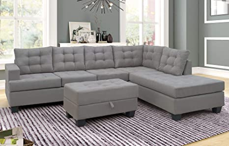 SEAPHY 3 Piece Sectional Sofa Microfiber with Reversible Chaise Lounge  Storage Ottoman and Cup Holders (Gray)