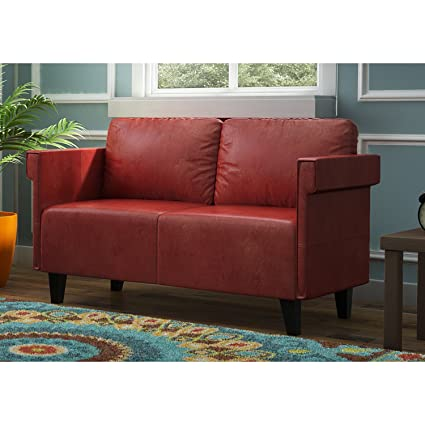 Amazon.com: Modern Contemporary Bellerose Faux Leather Loveseat ...