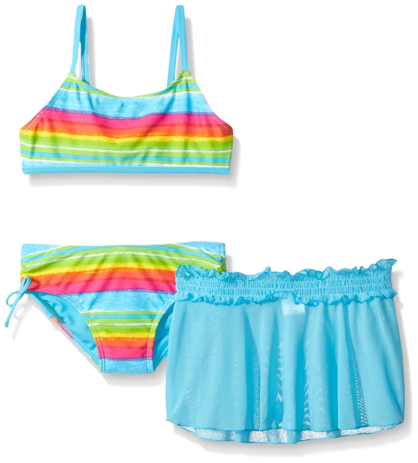Freestyle Girls' Big Sketch Two Piece Swimsuit with Skirt 7581