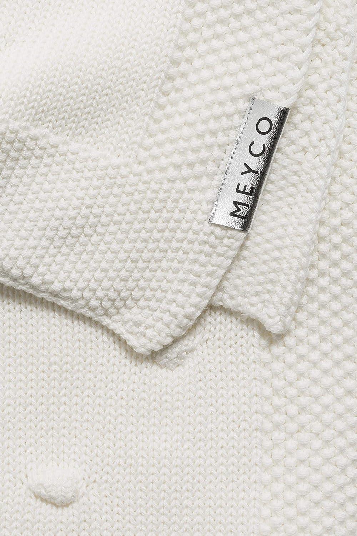 wei/ß Meyco 2733050 Babydecke gestrickt mit Knoten 75x100 cm