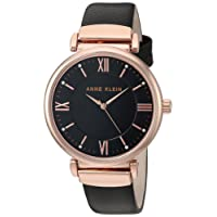 Anne Klein Rose Goldtone and Black Leather Strap Watch