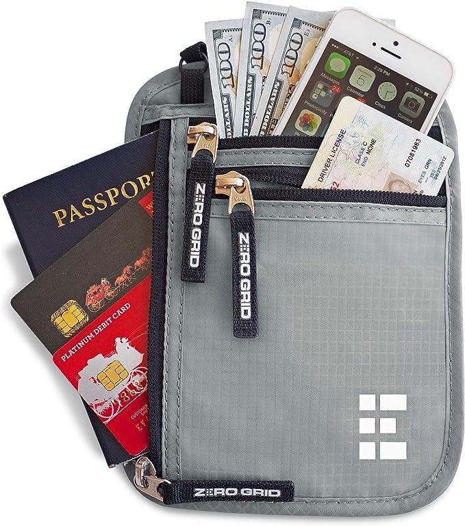 零网格颈部钱包W / RFID阻挡