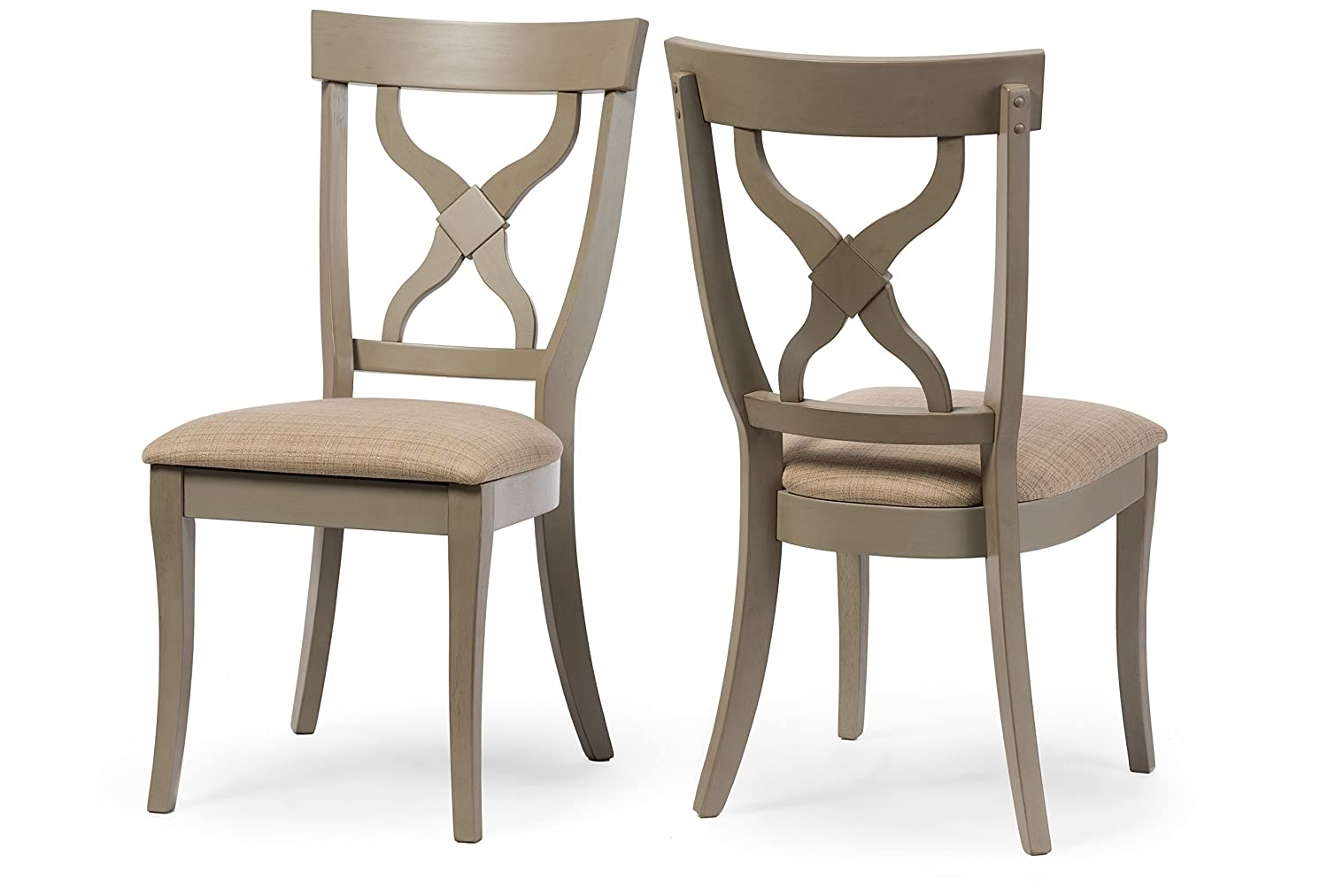 Wholesale Interiors 2 Piece Balmoral Shabby Antique X-Back Dining Side Chair Set, Oak Distressed Light Grey