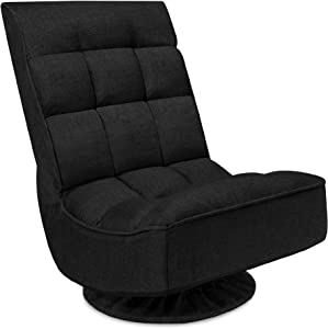 Best Choice Products Reclining Folding Floor Gaming Chair for Home, Office, Lounging, Reading w/ 360-Degree Swivel, 4 Adjustable Positions, Tufted Cushions - Black
