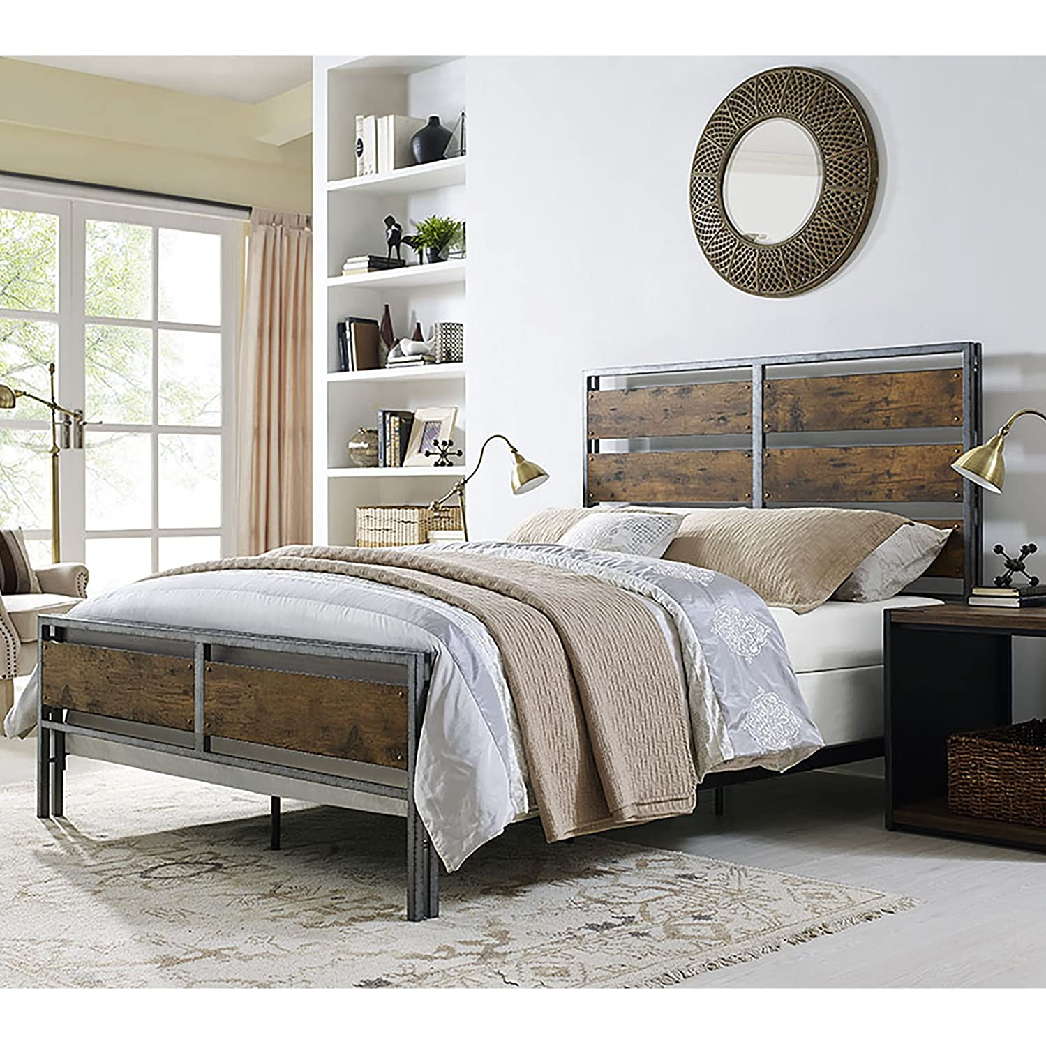 WE Furniture Queen Size Metal & Wood Plank Bed - Brown