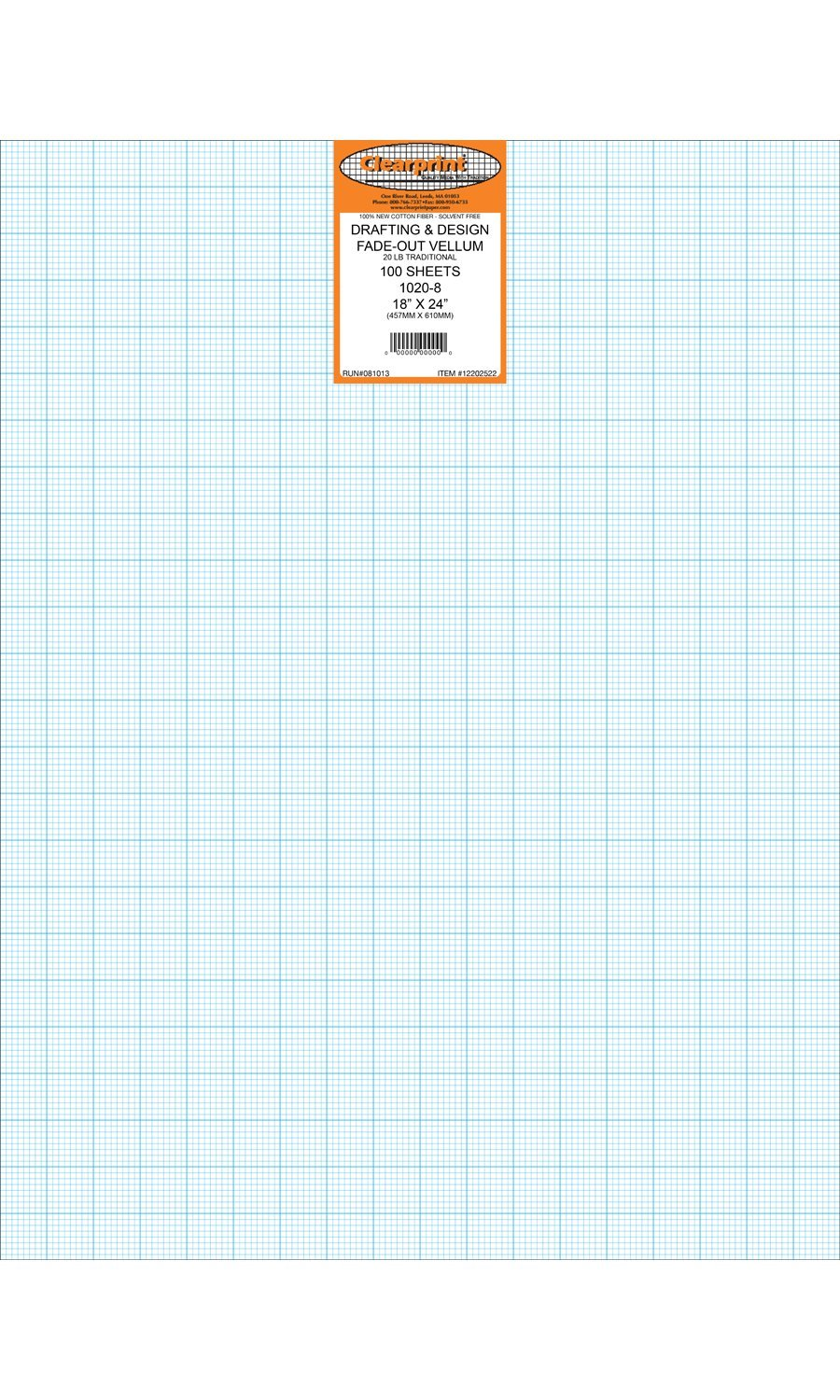 Clearprint 1020H Design Vellum Sheets with Printed Fade-Out 8x8 Grid, 20 Lb., 100% Cotton, 18 x 24 Inches, 100 Sheets Per Pack, 1 Each (12202522)