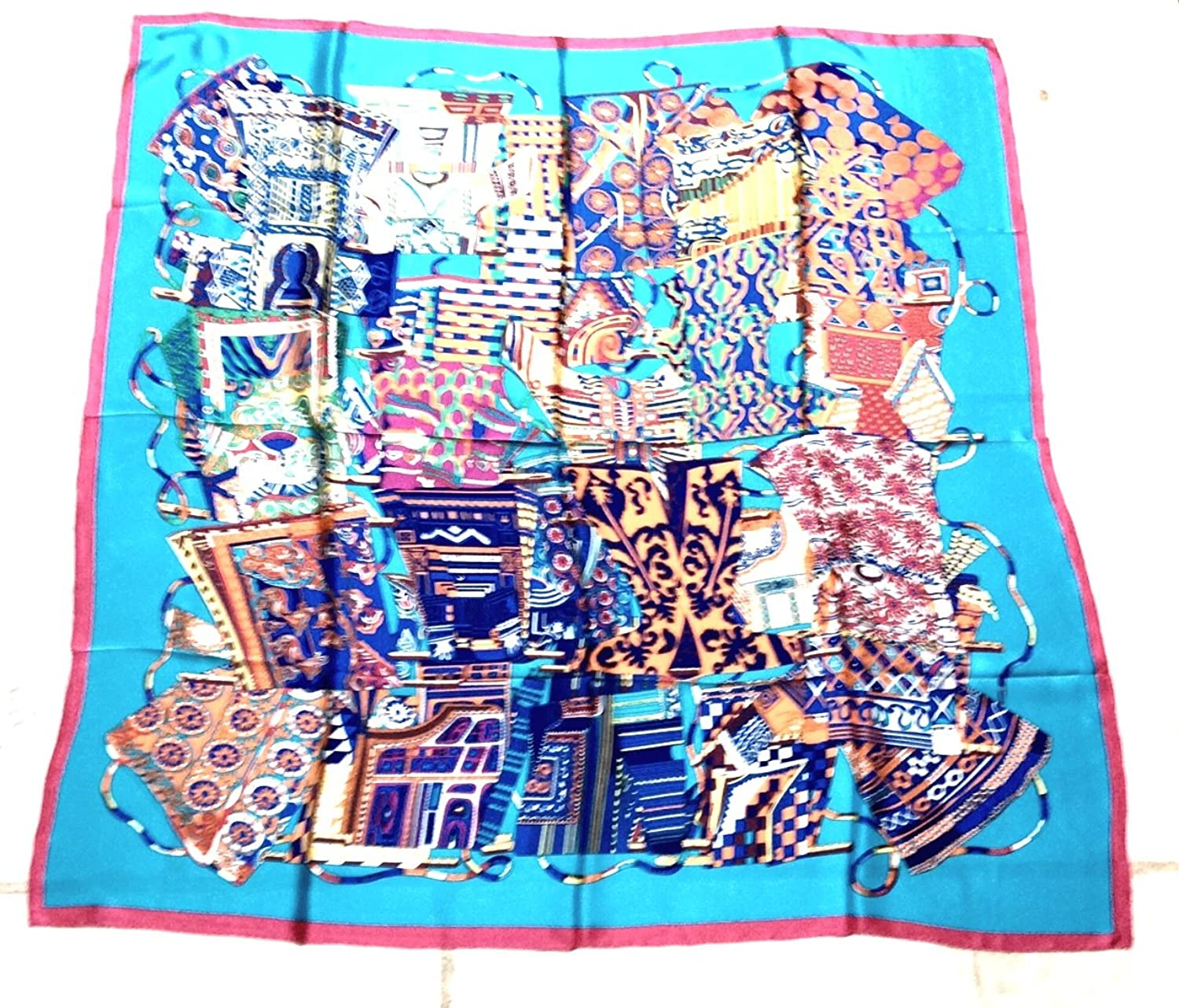 "Turquoise 100% Silk Twill Collage 55"" Square Scarf"