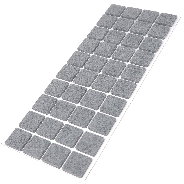 Adsamm® | 40 x Filzgleiter | 25x25 mm | Grau | quadratisch | 3.5 mm starke selbstklebende Filz-Möbelgleiter in Top-Qualität von Adsamm®