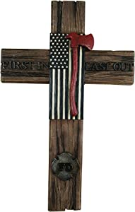 FD First In Last Out Wall Hanging Cross Wall Decor by Pine Ridge - American Flag with Ax Decorative Catholic Family Crucifix For The Wall - Unique Home Decor Christian Gifts