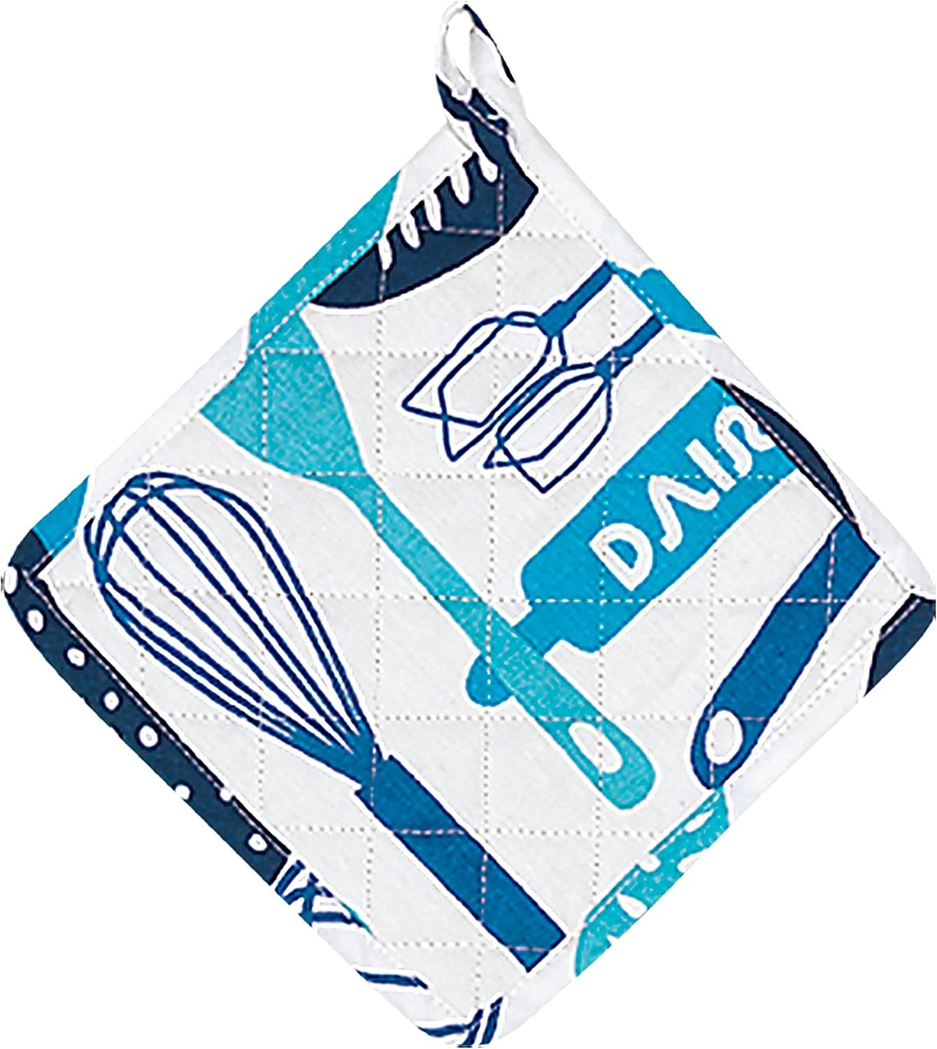 """Dairy Blue Pot Holder – Oven Glove – 100% Cotton Quilted, Machine Washable - 8"""" x 8"""" - Color Coded Kitchen Tools by The Kosher Cook"""