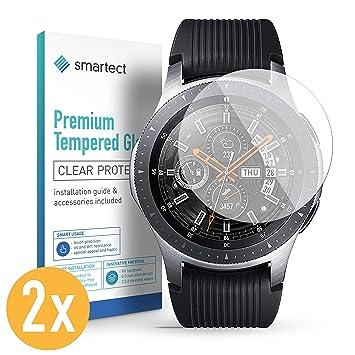 smartect Protector de Pantalla para Samsung Galaxy Watch 46 mm [2 Unidades] - 9H Cristal Templado - Diseño Ultrafino - Instalación Sin Burbujas - ...