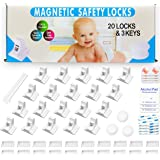 Eco-Baby Cabinet Locks for Babies - 20 Childproof Safety Latches, 3 Keys - Magnetic Baby Proof Lock for Cabinets, Doors, Draw