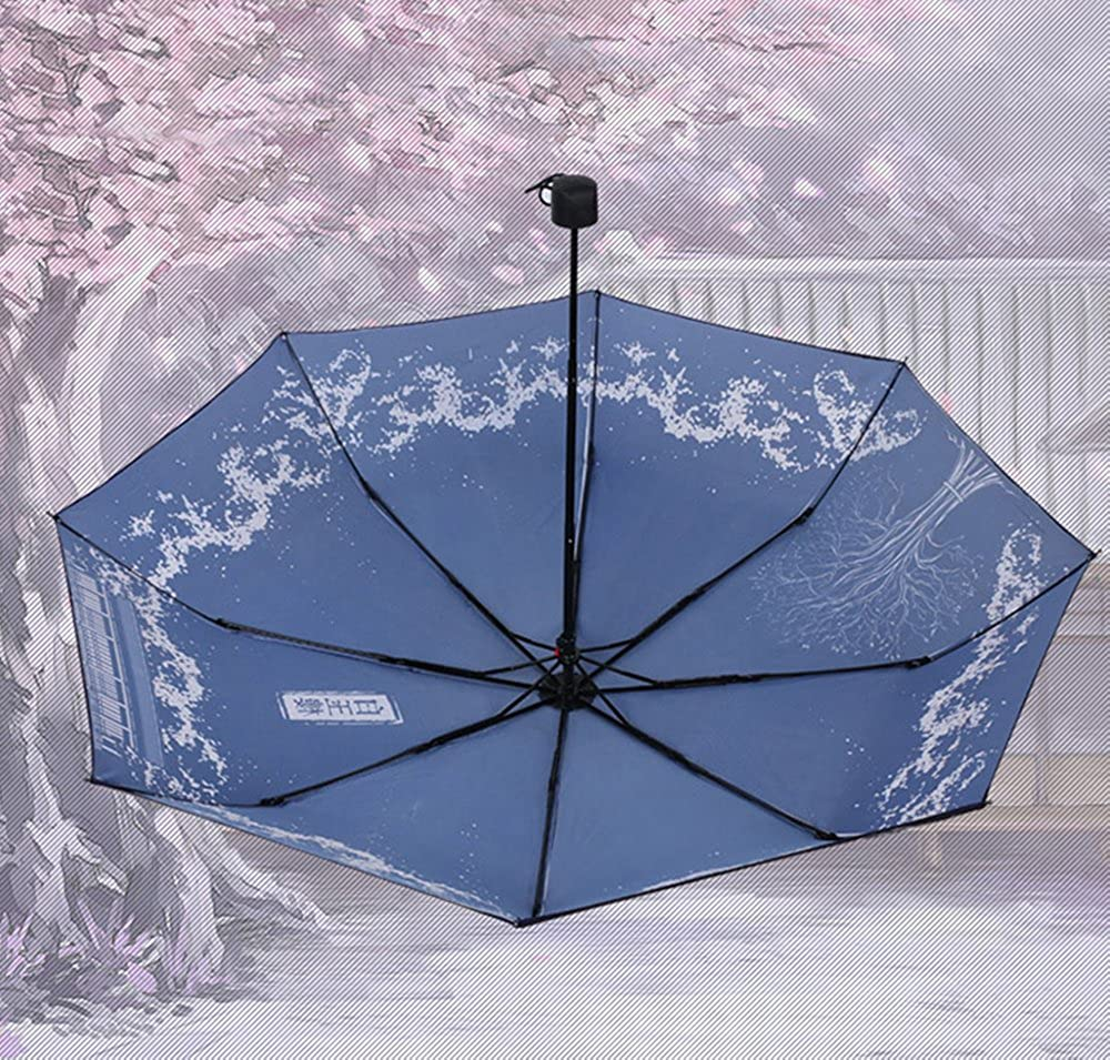 Rains Pan Anime TouHou Project White Jade Building Printed 8 Ribs Foldable UV Umbrella