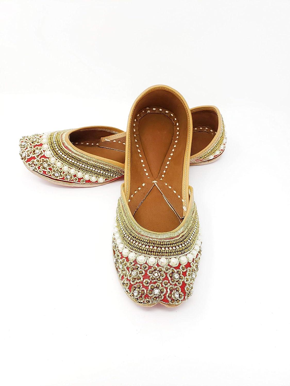 Punjabi Jewel House Red Jutti Flats with Pearls Traditional Womens Shoes Handmade leather Mojari Khussa