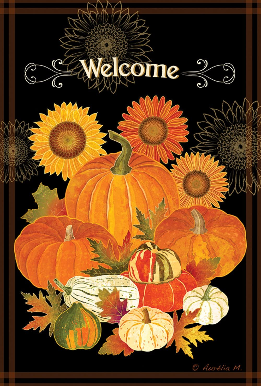 Toland Home Garden Pumpkin Bounty 28 x 40 Inch Decorative Fall Pumpkin Harvest House Flag
