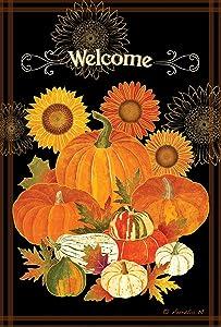 Toland Home Garden Pumpkin Bounty 28 x 40 Inch Decorative Fall Pumpkin Harvest House Flag