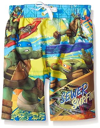 7407bb0d52 Amazon.com: Nickelodeon Boys' Little TMNT Surfing Trunk: Clothing