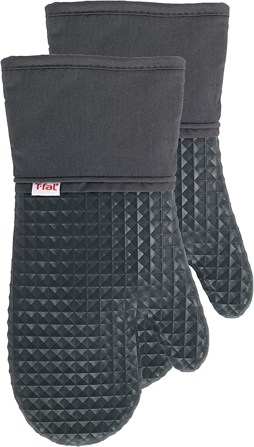 T-Fal Textiles 54318 Waffle Softflex Silicone Oven Thumb Mitt, 2 Pack, Charcoal