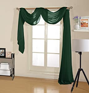 """Decotex Premium Quality Sheer Voile Scarf Valance for Home & Event Designs (37"""" X 216"""", Hunter Green)"""