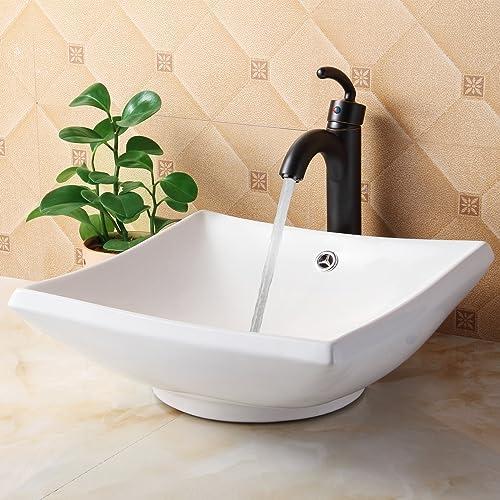 ELITE Bathroom Square White Ceramic Porcelain Vessel Sink Single Lever Oil Rubbed Bronze Faucet