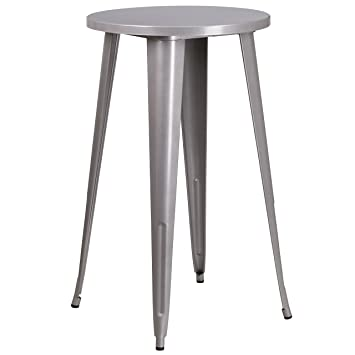 2b13f0c4cbd Image Unavailable. Image not available for. Color  Flash Furniture 24    Round Silver Metal Indoor-Outdoor Bar Height Table