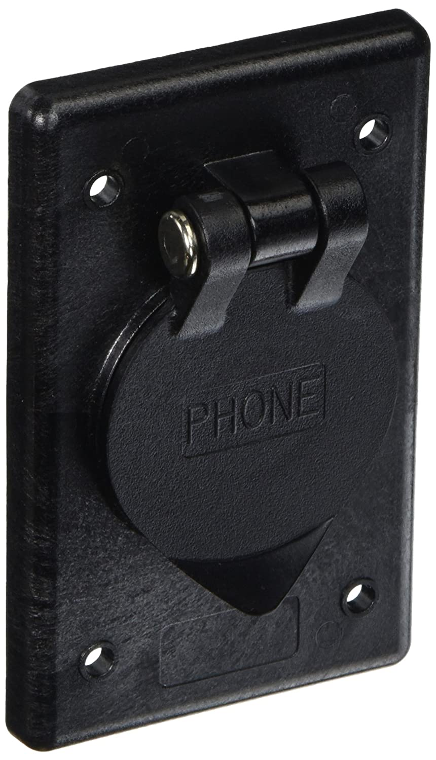 Hubbell Wiring Systems Ph6597 Polycarbonate Rectangular Phone Outlet With Gasketed And Spring Loaded Lift Cover Black Industrial Scientific