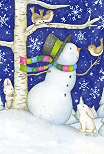 Toland Home Garden Critter Snowman 12.5 x 18 Inch Decorative Cute Winter Snow Bird Rabbit Garden Flag