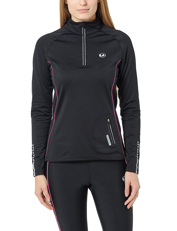 Ultrasport Advanced Damen windabweisendes Laufshirt Nelli mit Reflektoren und Quick-Dry-Funktion, innen Fleece angerauht, mit hochschließendem Reißverschluss, Daumenlöchern und Schlüsseltasche