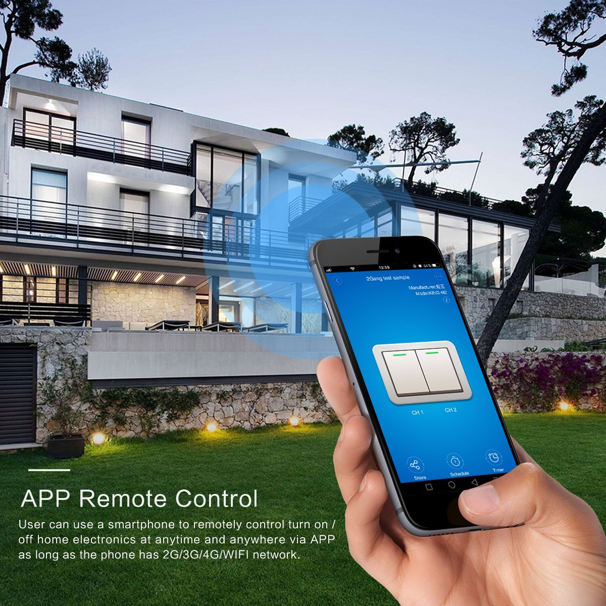 Interruptor de pared Wi-Fi Touch Smart Switch Temporizador Mando a distancia Sensor Interruptor de Pared Trabajo con  Alexa Google Home APP Control negro