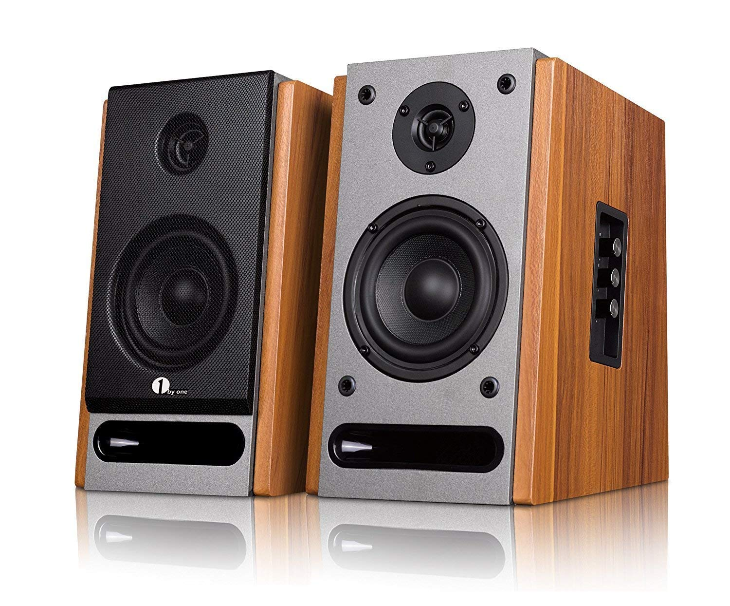 1byone powered Bluetooth classic bookshelf speaker with 4'' woofer and 1'' tweeter,2X21W RMS