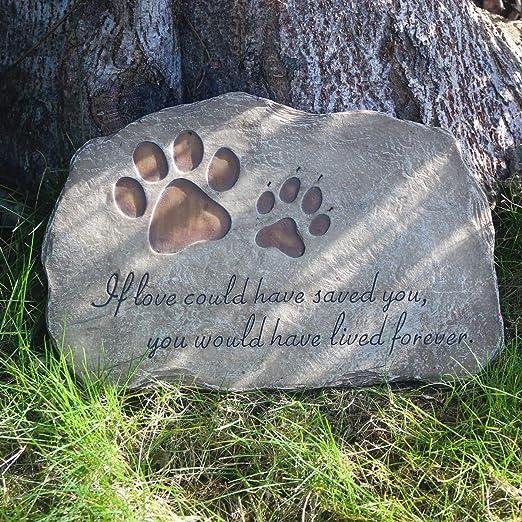 Dog Pet Animal Memorial Stone Rock Stepping Paw Print Plaque Grave Marker Garden