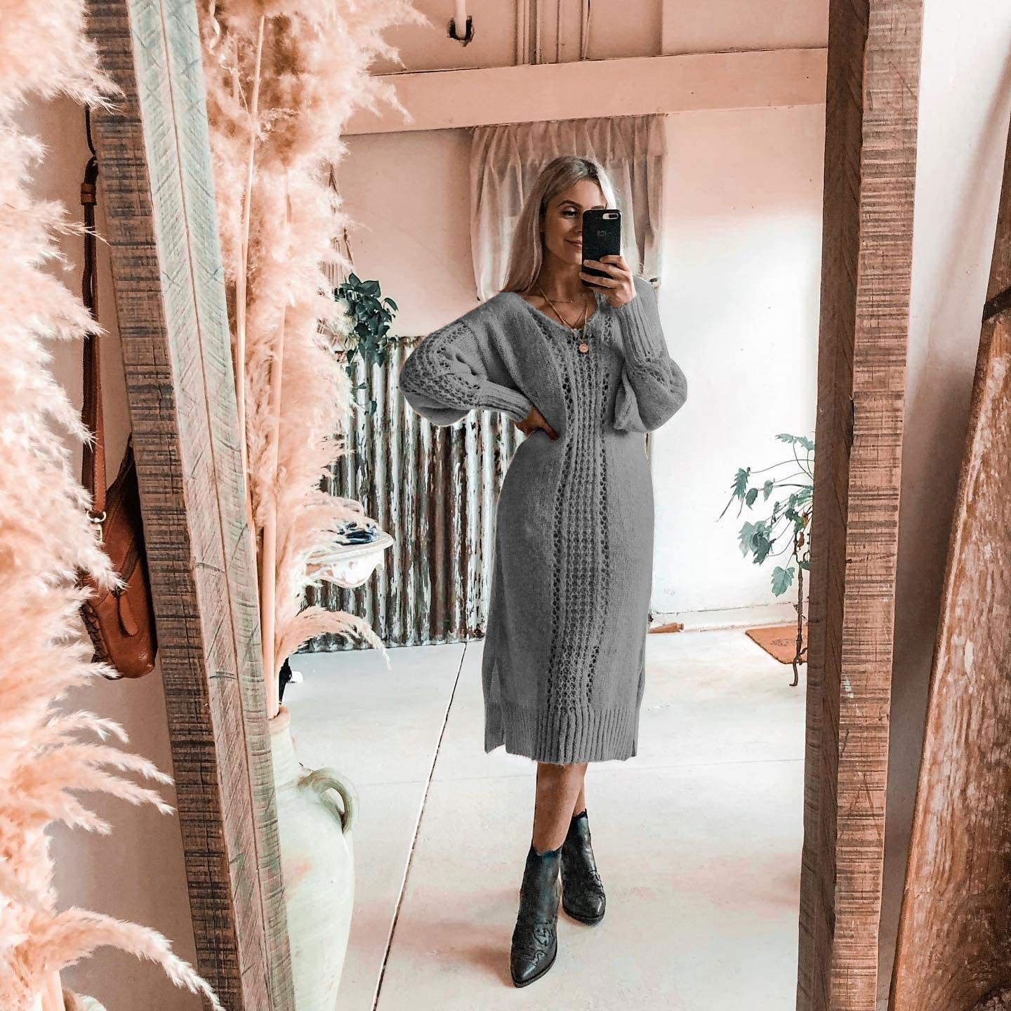 GiniMoli Women Casual Solid Tunics Jumper Long Sleeves V Neck Hollow Out Knit Sweater Plus Size Dress