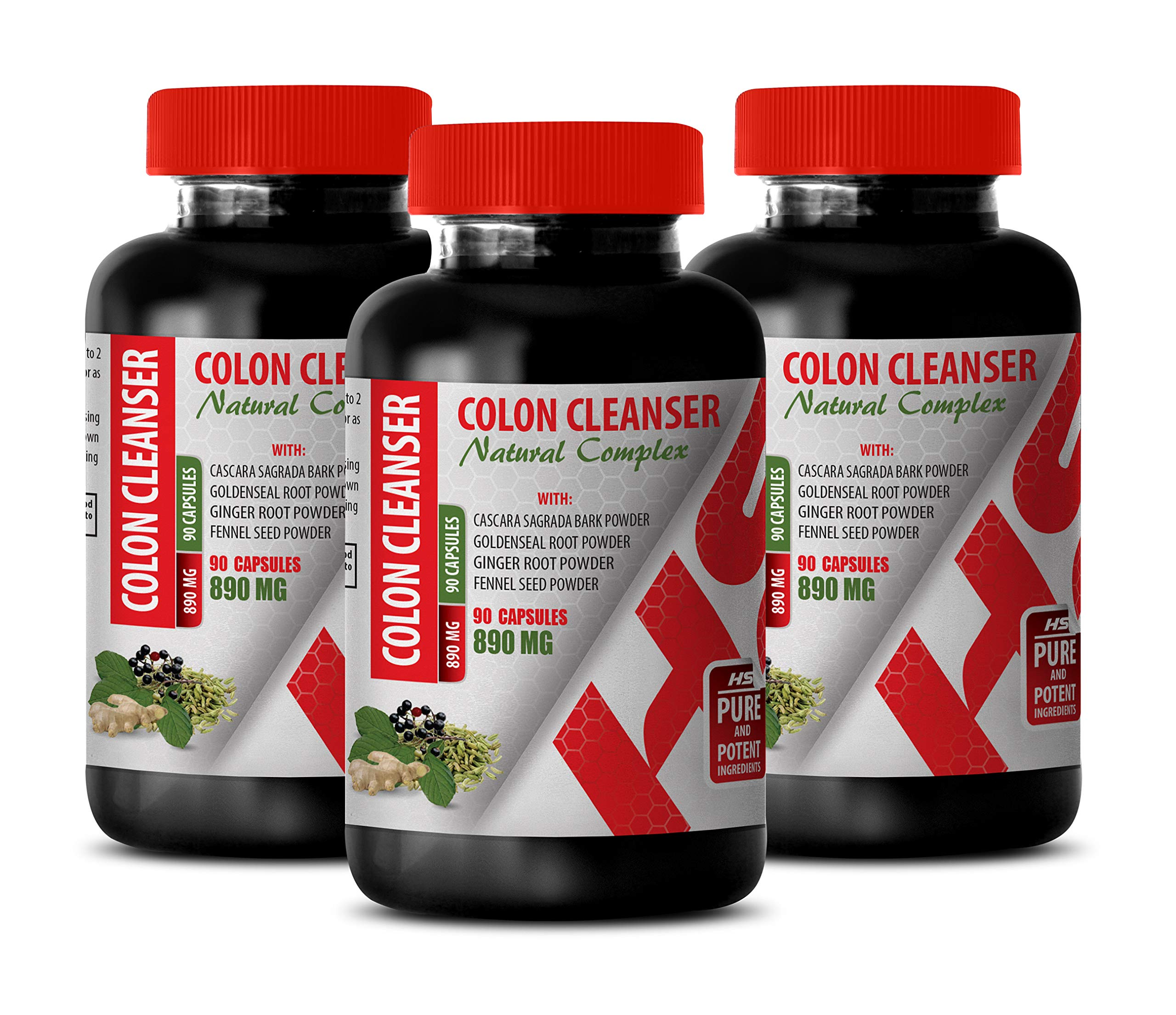 Colon Cleanse with psyllium Husk - Colon Cleanser - Natural Complex - Flaxseed Capsules - 3 Bottles 270 Capsules