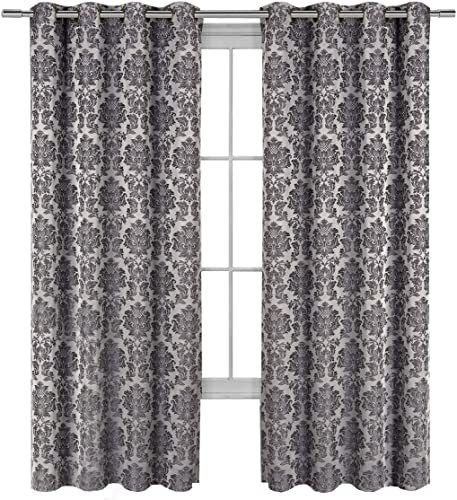 Royal Hotel Aryanna Gray Top Grommet Jacquard Window Curtain Panel