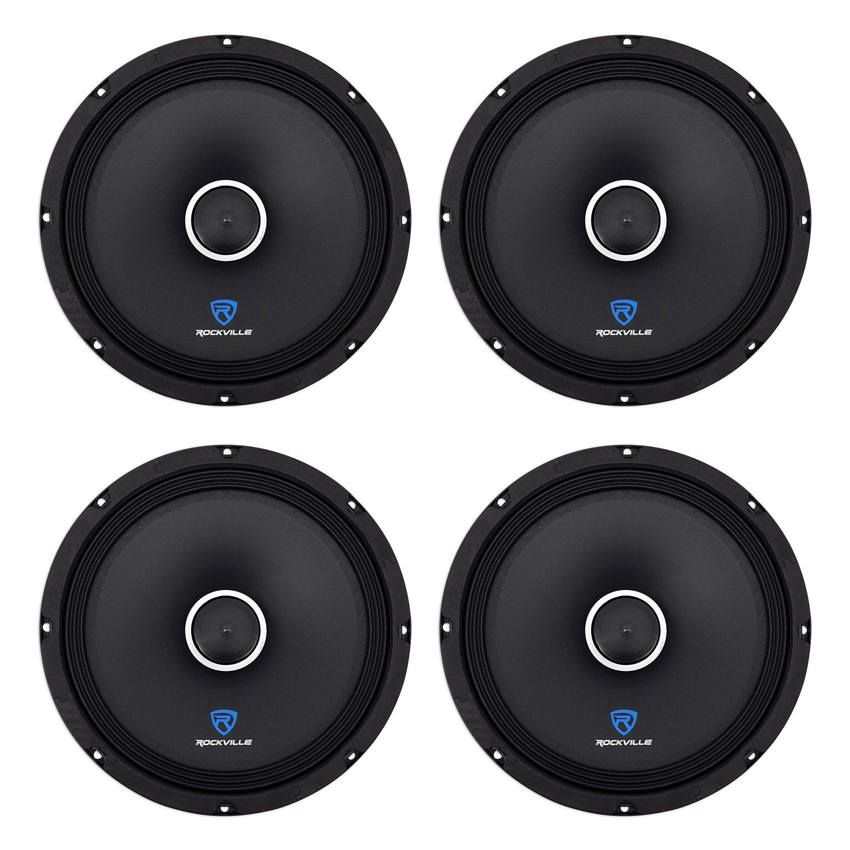 (4) Rockville RXM108 10'' 2400w 8-Ohm SPL Car Midrange Mid-Bass Speakers w/Bullet
