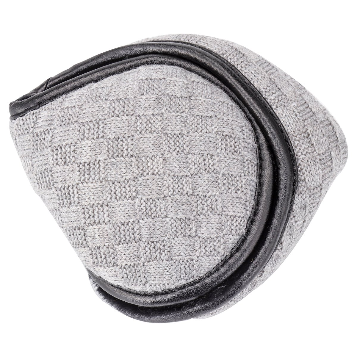 Ear Winter Warmers, Unisex Knit Foldable Big Furry Ear Muffs Winter Outdoor EarMuffs, Gray