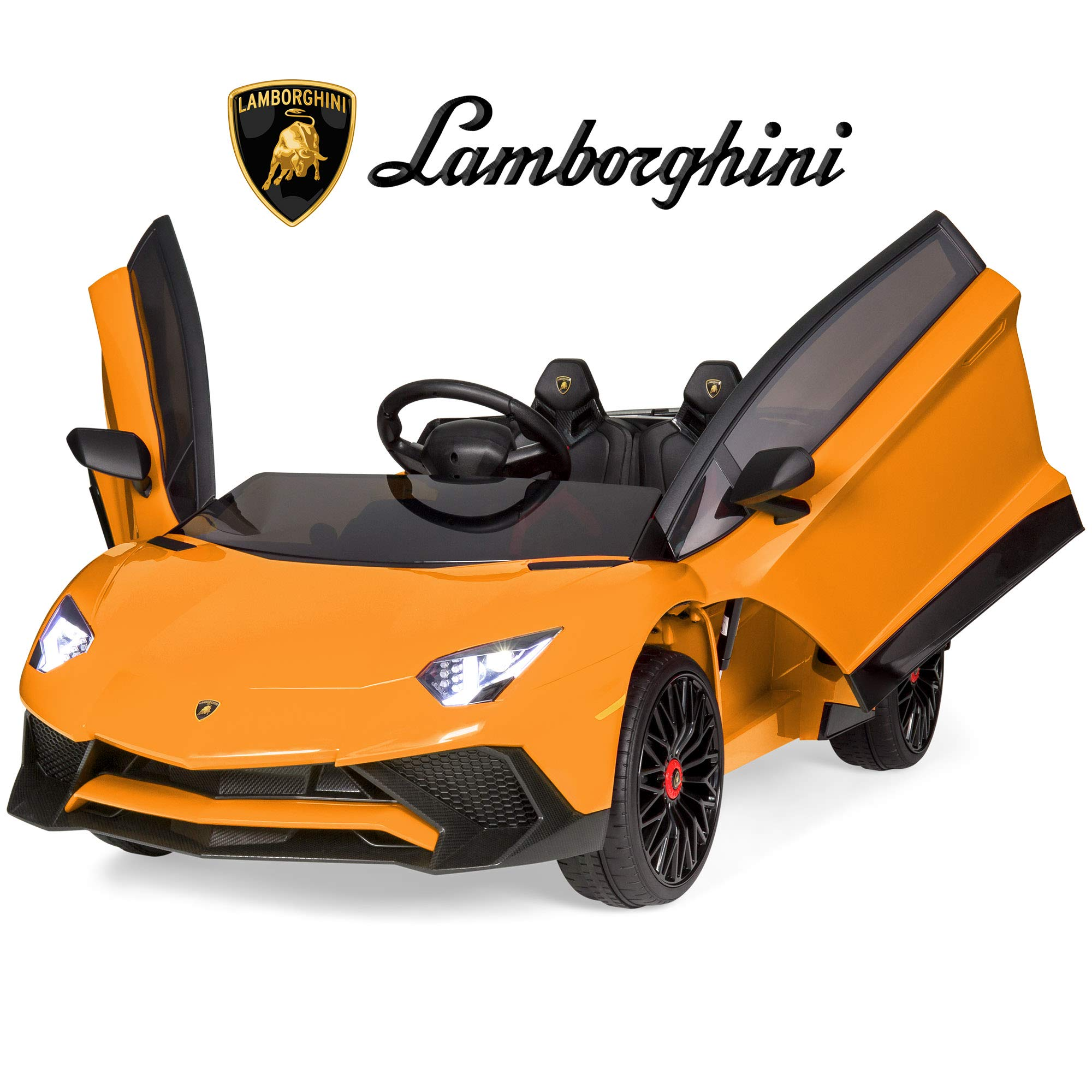 Best Choice Products Kids 12V Ride On Battery Powered Vehicle Lamborghini Aventador SV Sports Car Toy w/ Parent Control, AUX Cable, 2 Speed Options, LED Lights, Music, Horn - Orange