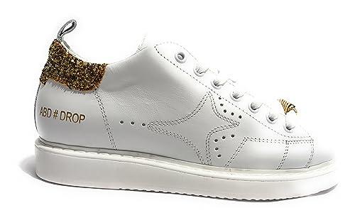 AMA-BRAND DELUXE Scarpe Donna Sneaker MOD. Drop Colore Bianco Glitter Gold  D18AM02  Amazon.it  Scarpe e borse e1e62cf18d6