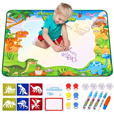 VSATEN Doodle Water Drawing Mat, Aqua Magic Mat Toddlers Painting Writing Board Educational Toys for Kids Boys Girls Gifts Travel Toy Age 3-10 Years Old Gift + 6 Dinosaur Drawing Template + 4 Suckers: Toys & Games