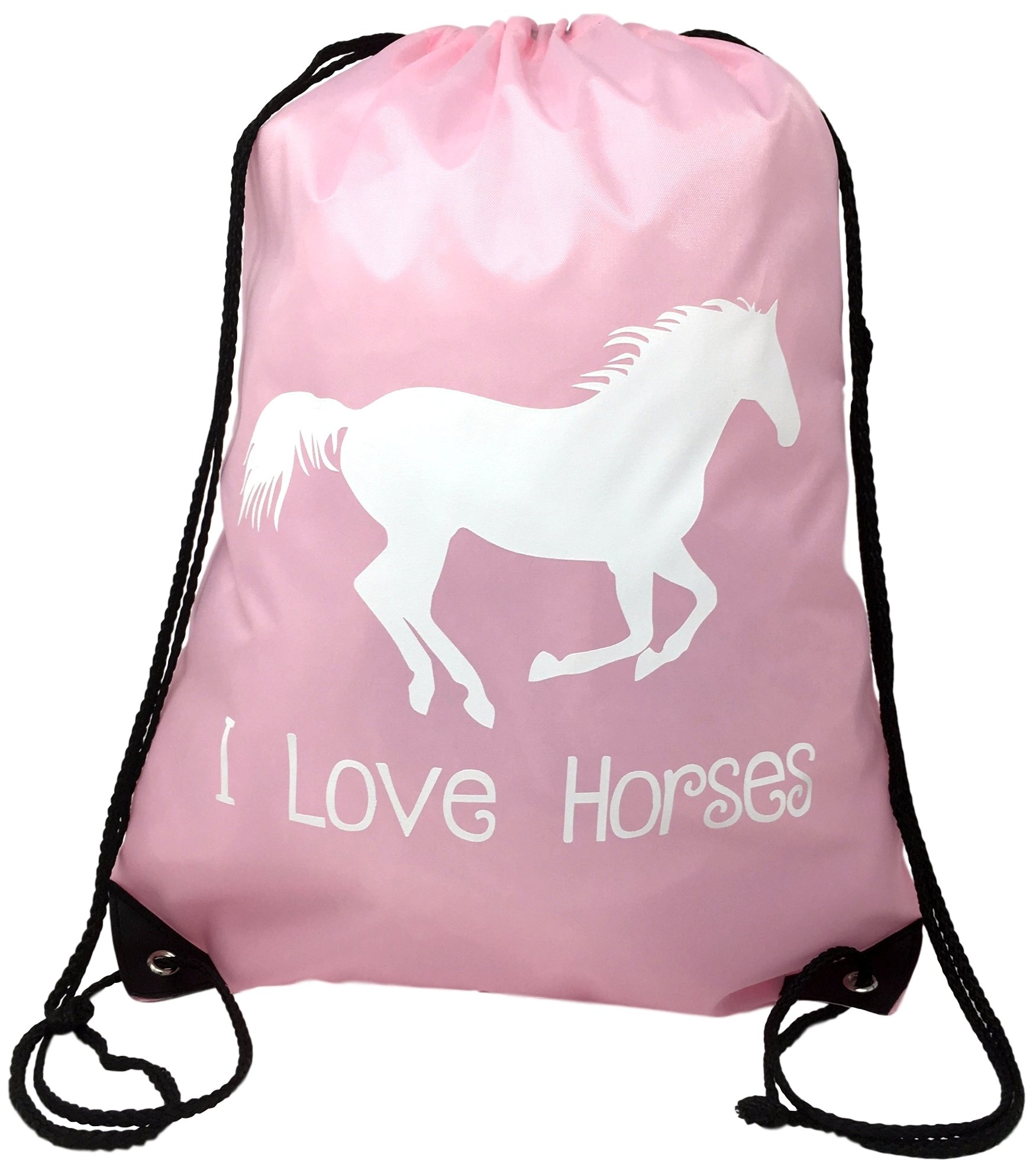 Horse Backpack--Pink, ''I Love Horses'' Drawstring Bag --Cute Horse Themed Gift for Girls