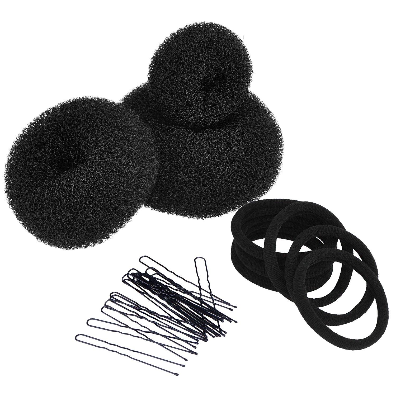 3 Pièces de Donut Bun Maker Coiffure Chignon Accessoires de Coiffure (Grand, Moyen et Petit), Noir