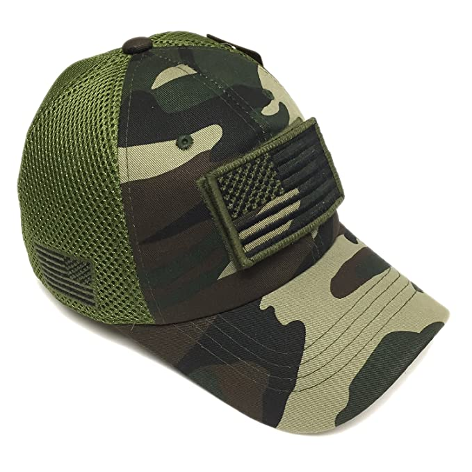 Image Unavailable. Image not available for. Color  Military Army Green Camo  Vintage Cotton Cap USA Flag Patch ... 27e7b4f57d6