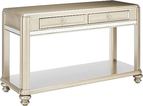 Coaster Home Furnishings Bling Game 2-Drawer Sofa Table Metallic Platinum