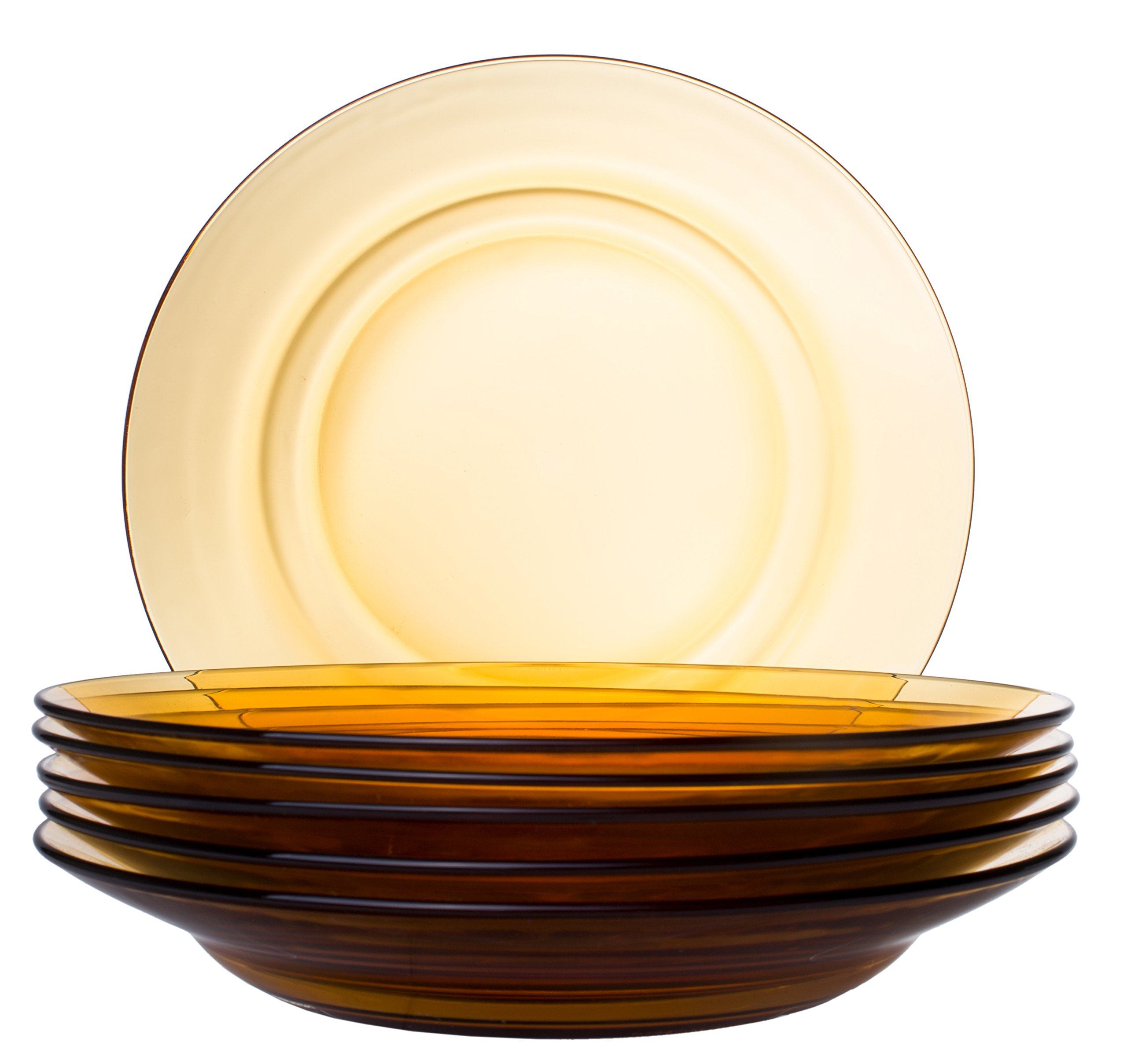 Classic Round Glass Soup Bowl, Pasta/Salad Plate in Orange - Set of 6