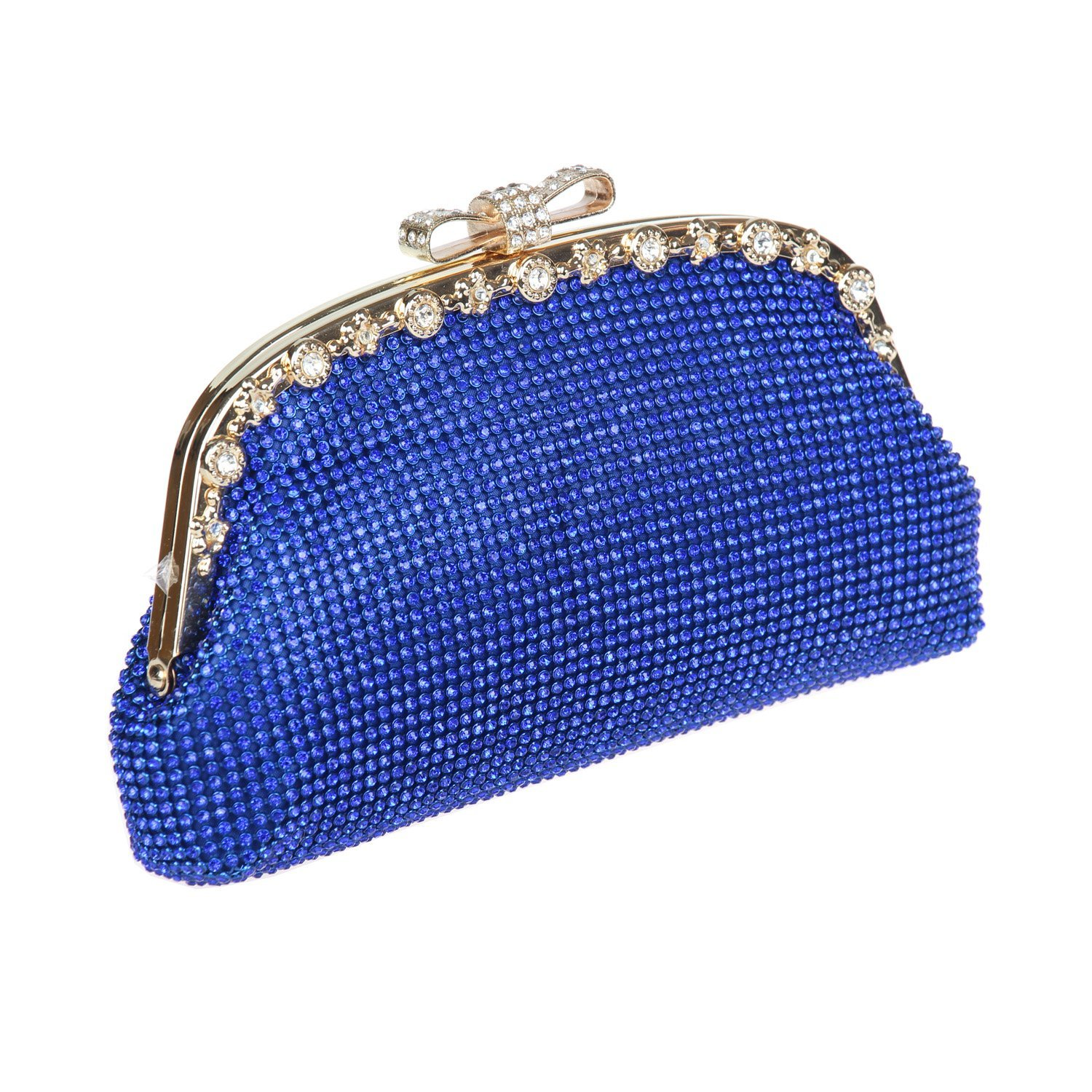bluee Ustylish Crystal Party Prom Clutch Purse Bag in 8 colors