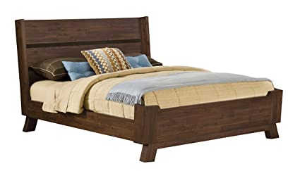 Bon Modus Furniture 7Z48F5 Portland Solid Wood Platform Bed, Queen, Walnut