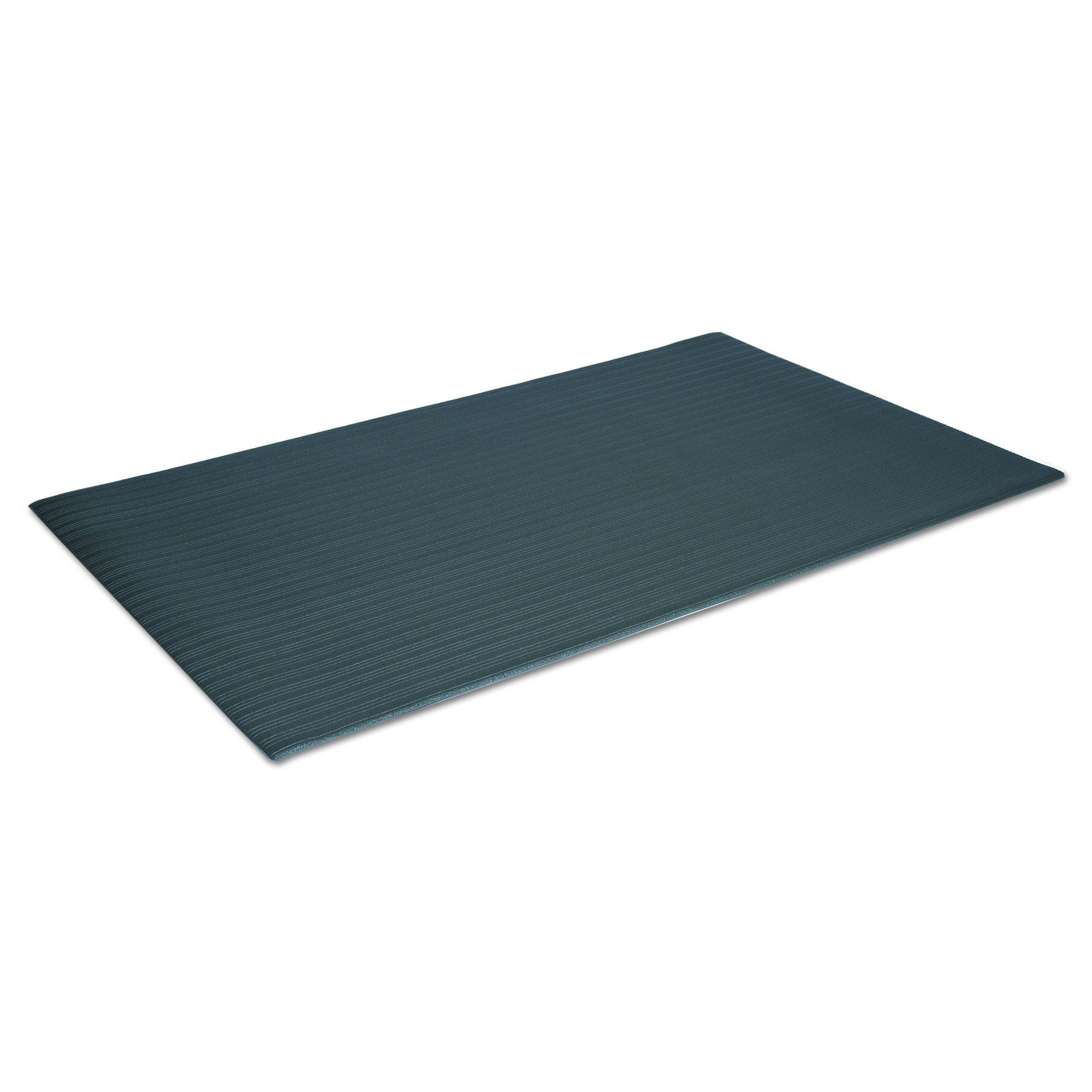 Crown FL2436BK Ribbed Vinyl Anti-Fatigue Mat, 24 x 36, Black