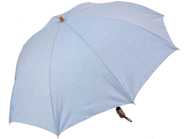男の日傘ナチュラル:コットン100%無地(ライトブルー)晴雨兼用二段式折りたたみ傘メンズ B014AFUOOC