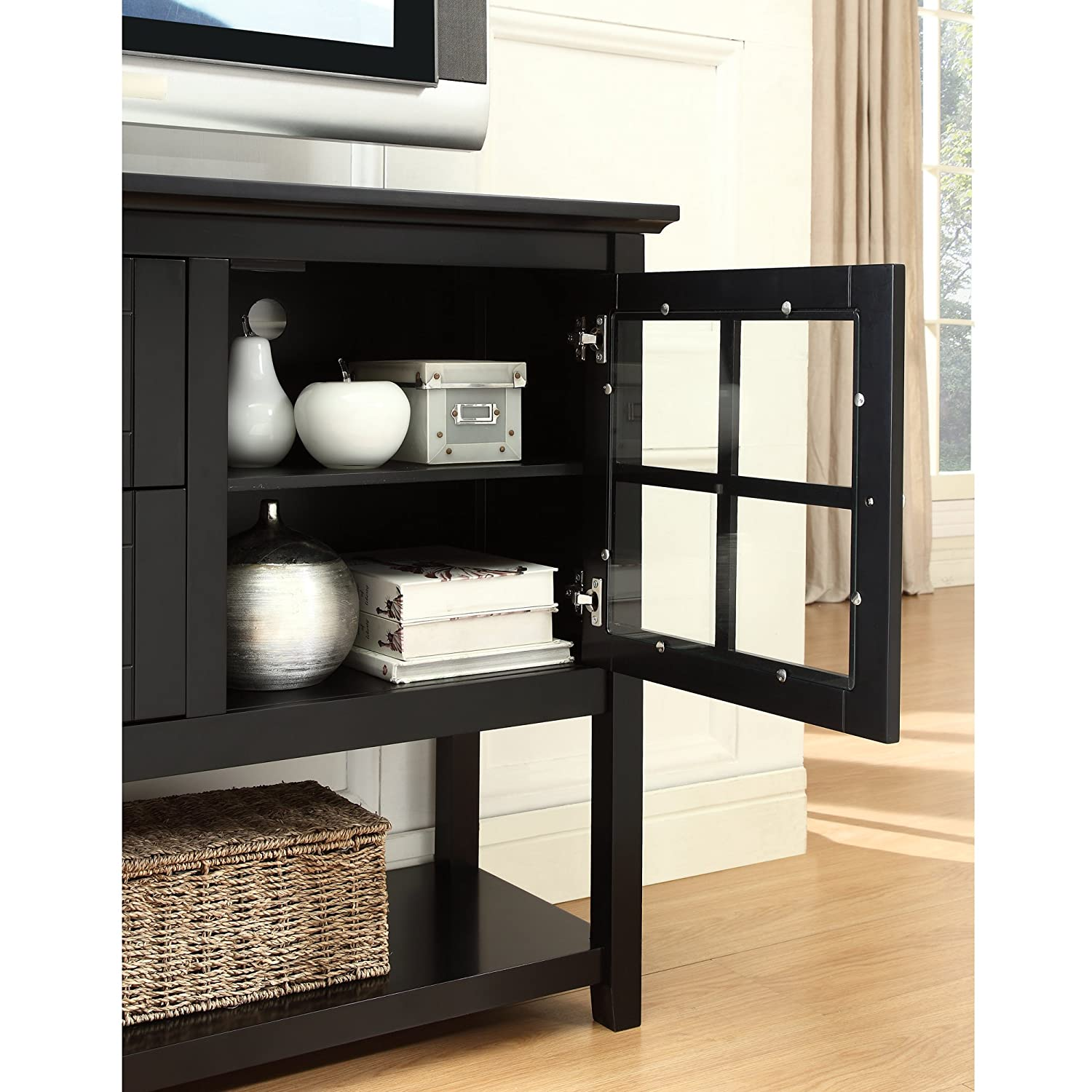 Amazon we furniture 52 console table wood tv stand console amazon we furniture 52 console table wood tv stand console black kitchen dining geotapseo Gallery